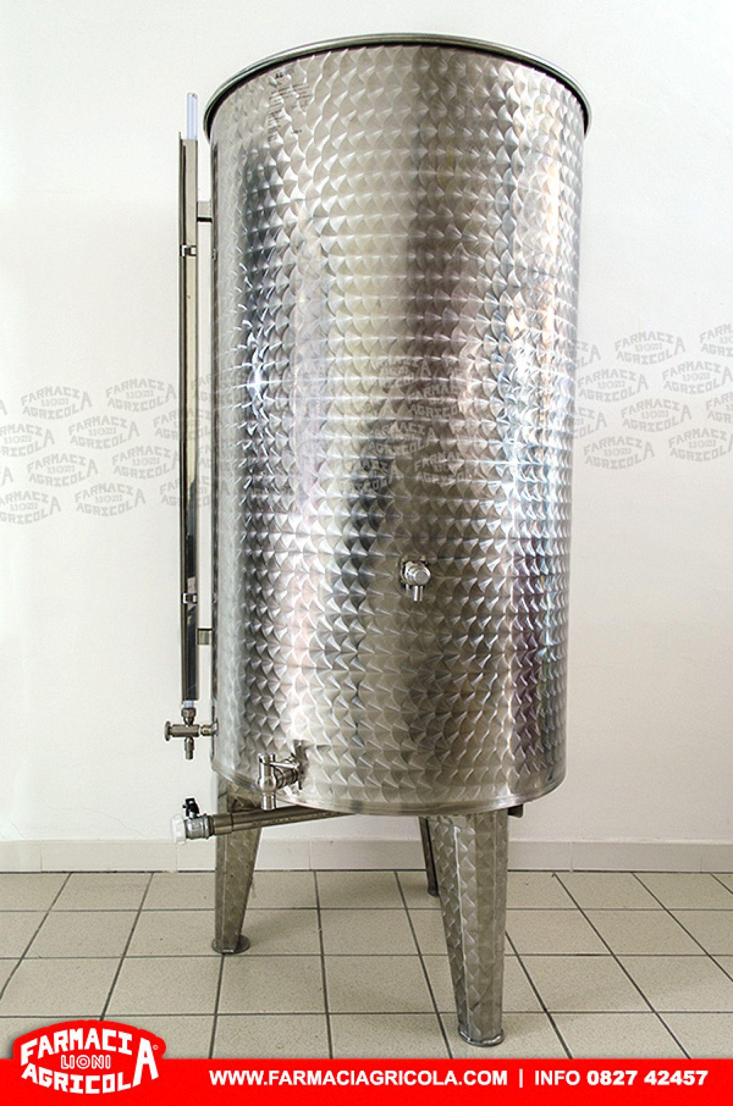 BOTTE o SERBATOIO CONICO da Litri 1000 per vino in ACCIAIO INOX  galleggiante chiusura olio
